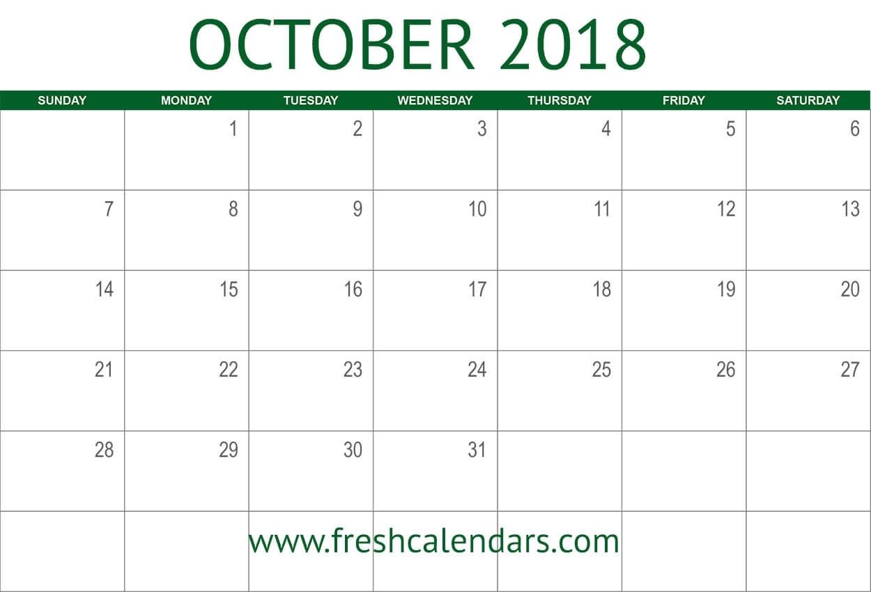 October 2018 Calendar Printable - Fresh Calendars within October Blank Calendar Monday To Friday Only