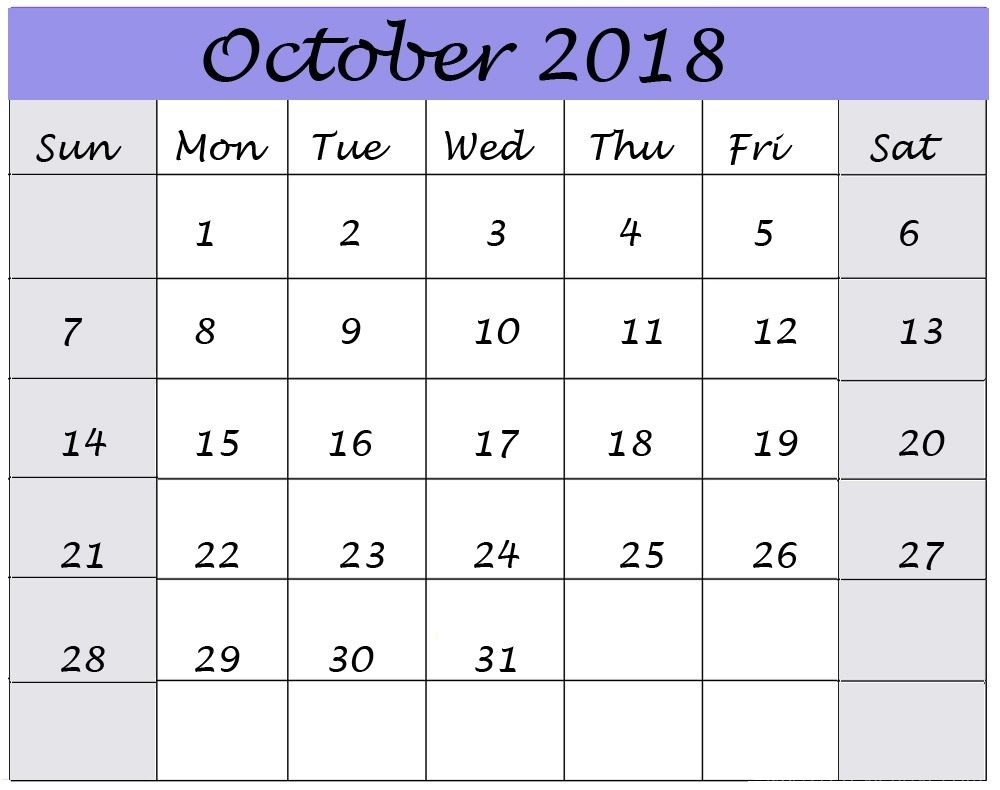 October 2018 Calendar Template Large Space For Sppointment Notes in Calendar With Large Space For Notes In Excel