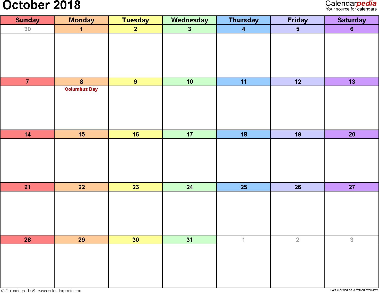 October 2018 Calendars For Word, Excel & Pdf with regard to Monthly Calendar - Vacation Themed