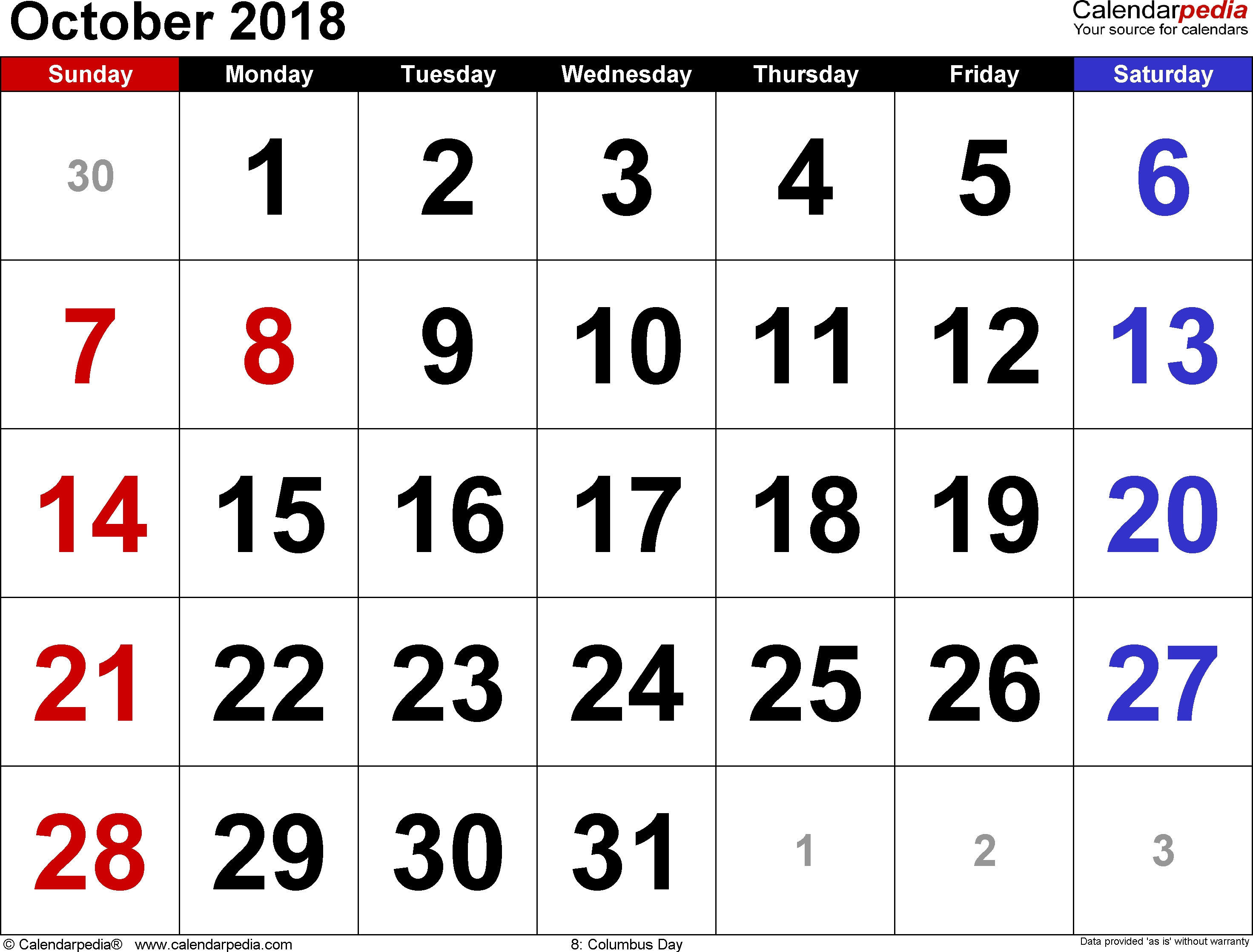 October 2018 Calendars For Word, Excel & Pdf within Monthly Calendar - Vacation Themed