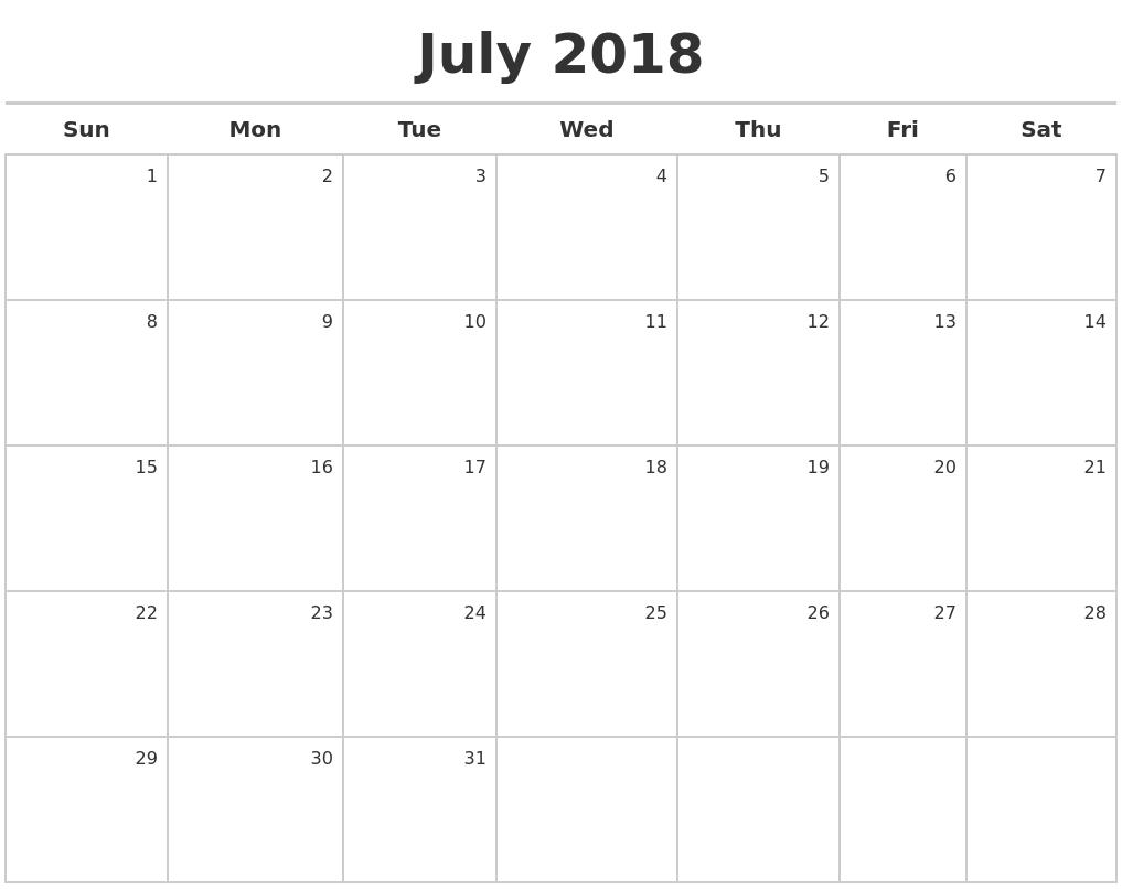 October 2018 Download Calendar pertaining to July Calendar Monday To Sunday