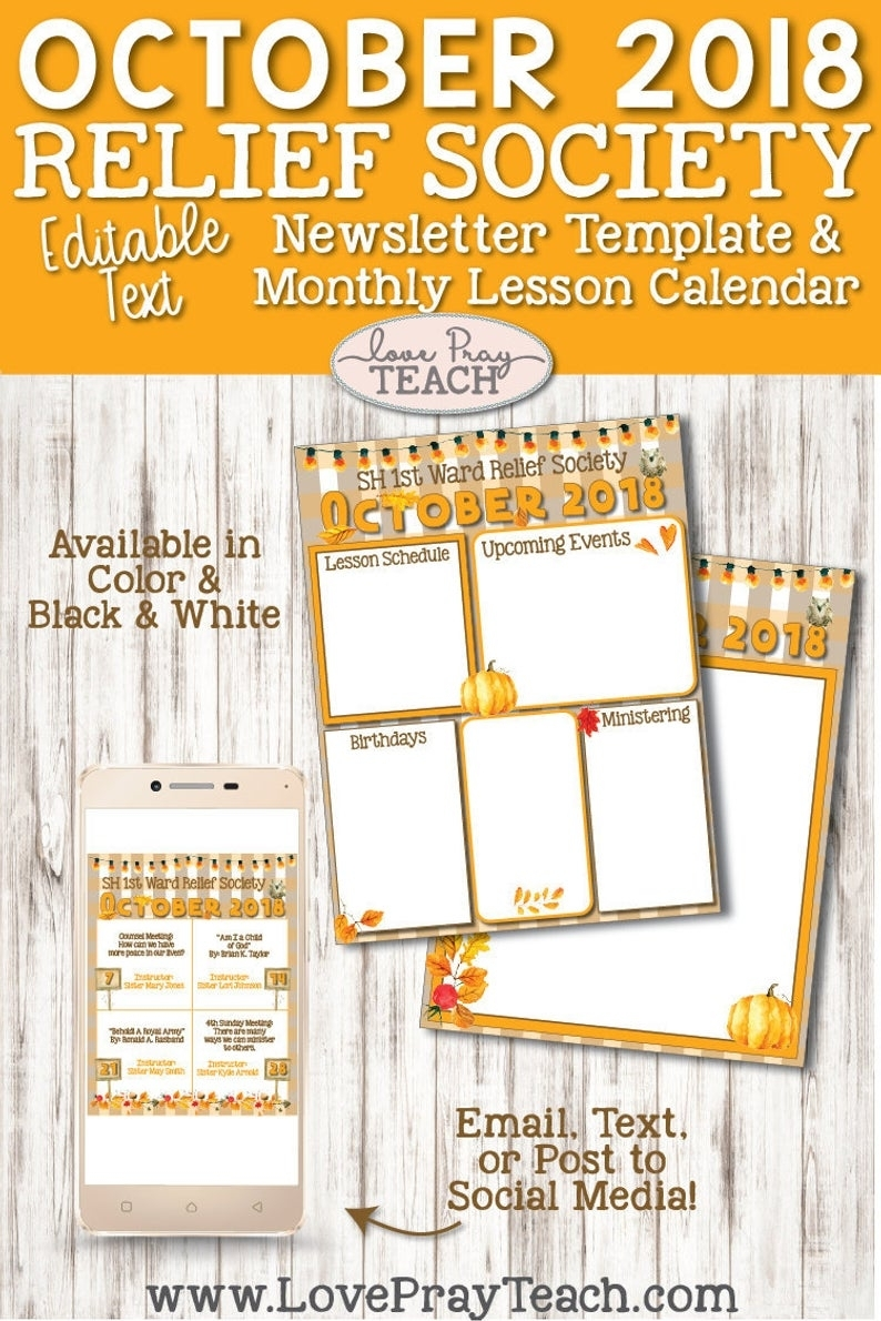 October 2018 Editable Newsletter Template And Relief Society | Etsy for Lesson Plan Calendar October Blank