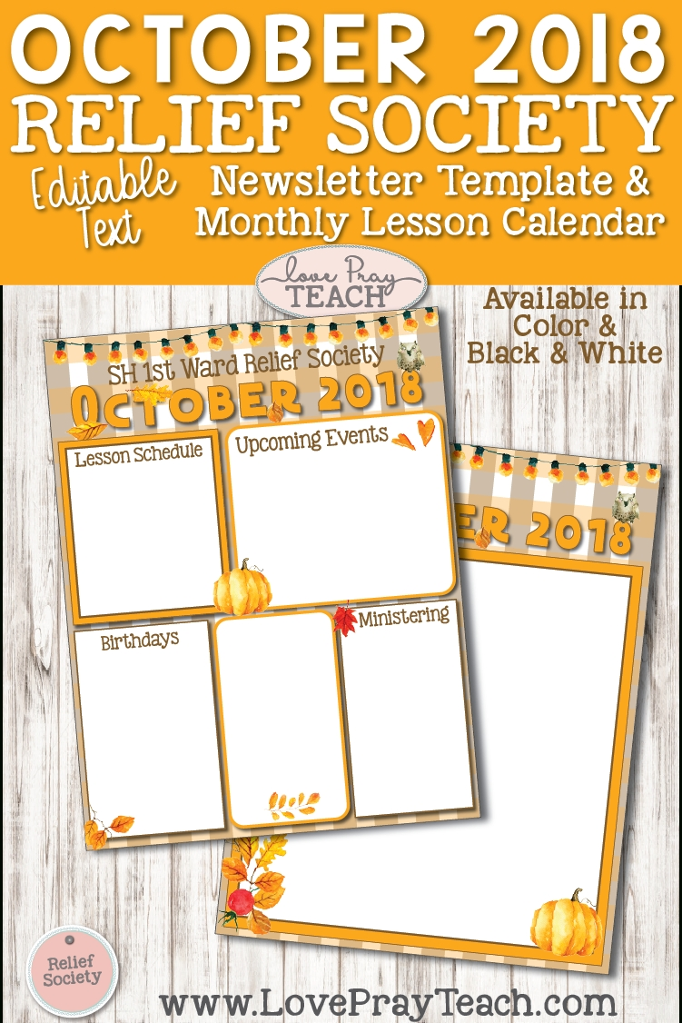 October 2018 Editable Newsletter Template And Relief Society Lesson pertaining to Lesson Plan Calendar October Blank