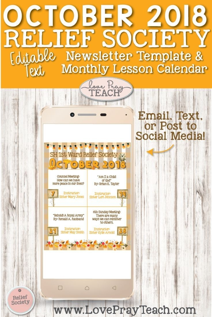 October 2018 Editable Newsletter Template And Relief Society Lesson with Lesson Plan Calendar October Blank
