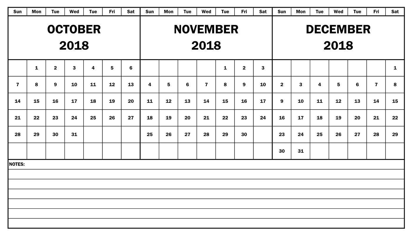 October November December 2018 Calendar Template | October 2018 within Print Calendar For October November December