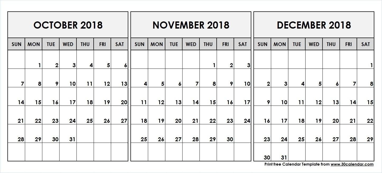 October November December 2018 Printable Calendar | 2018 Calendar throughout Print Calendar For October November December