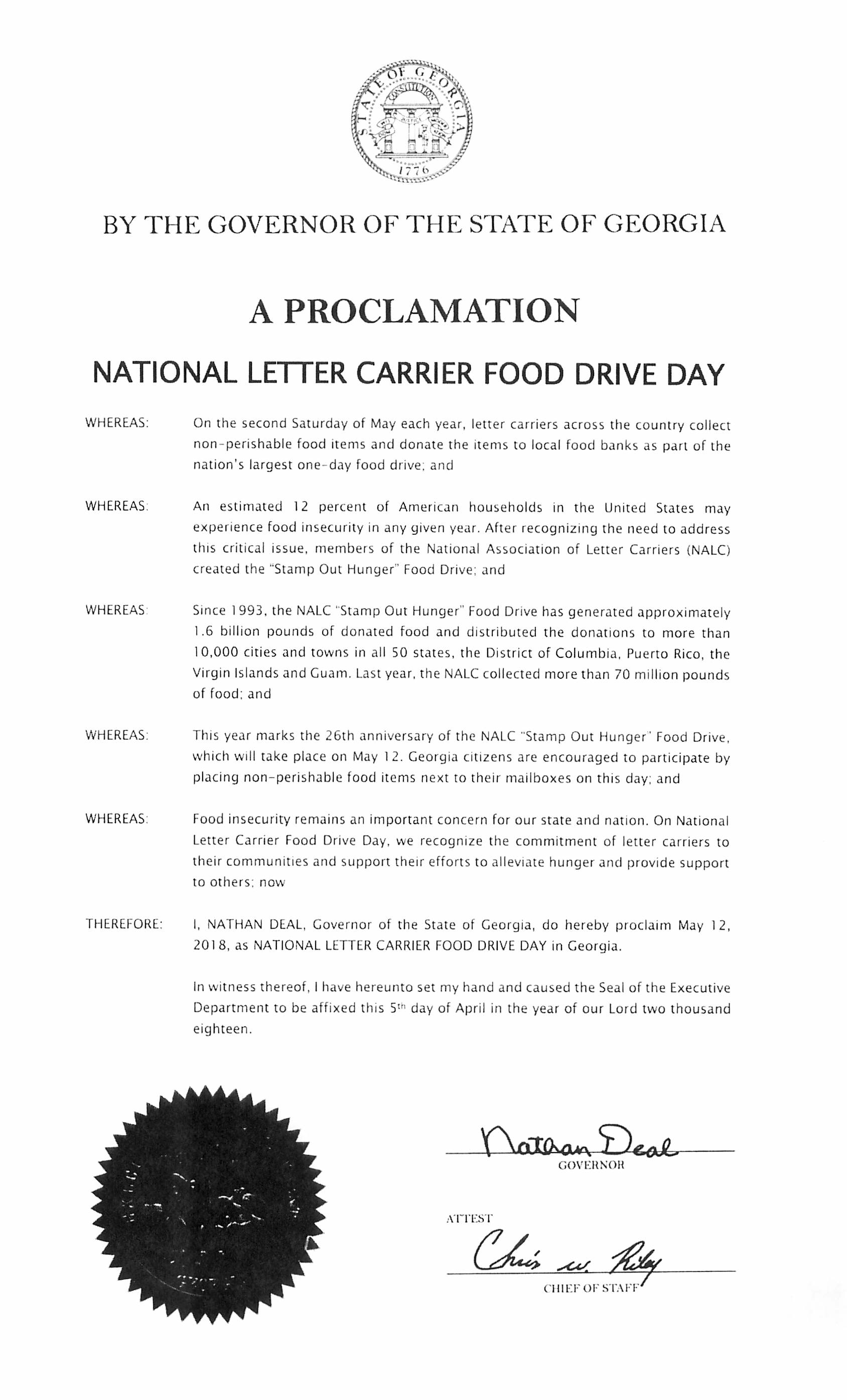 Official Proclamations | National Association Of Letter Carriers Afl-Cio with Letter For Food Stamps Sample