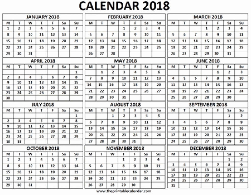 One Month Calendar 12 Month Calendar 2018 On One Page Printable throughout 12 Month One Page Calendar