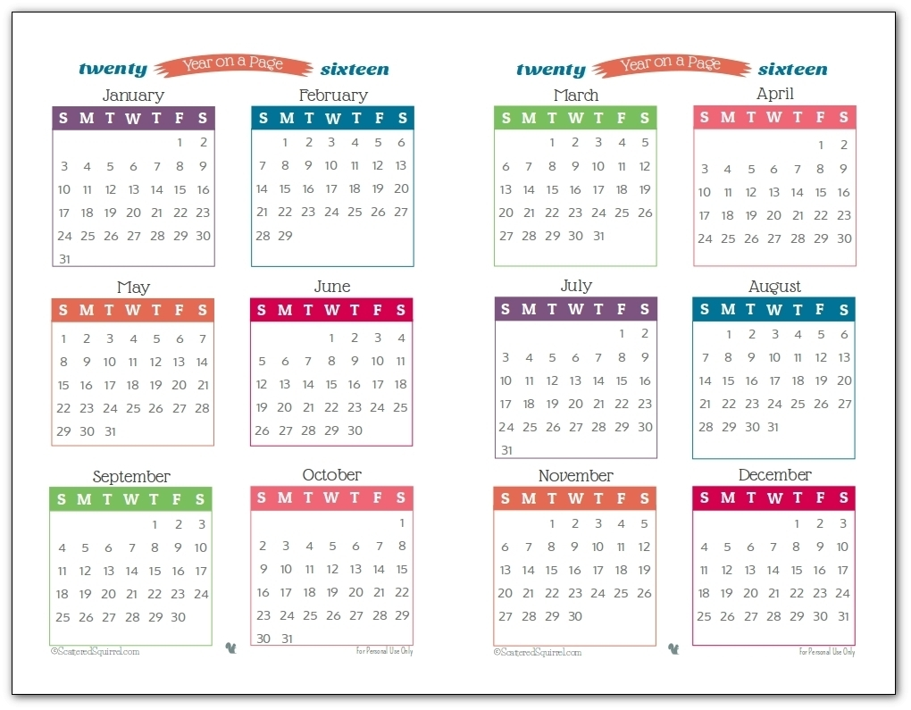 One Page Annual Calendar Printable | Template Calendar Printable for One Page Annual Calendar Printable