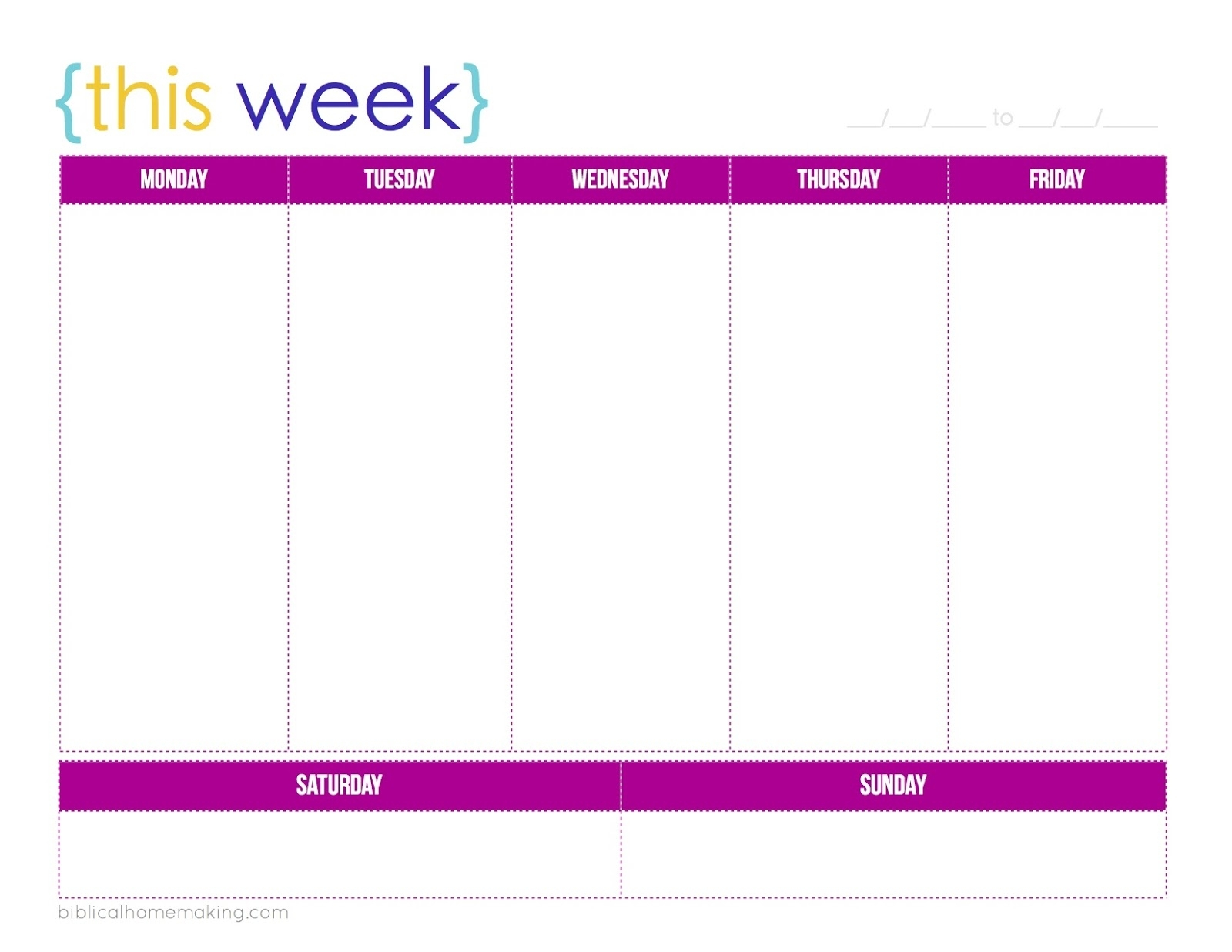 One Week Calendar Printable Schedule Ate Blank | Smorad intended for Week By Week Calendar Printable