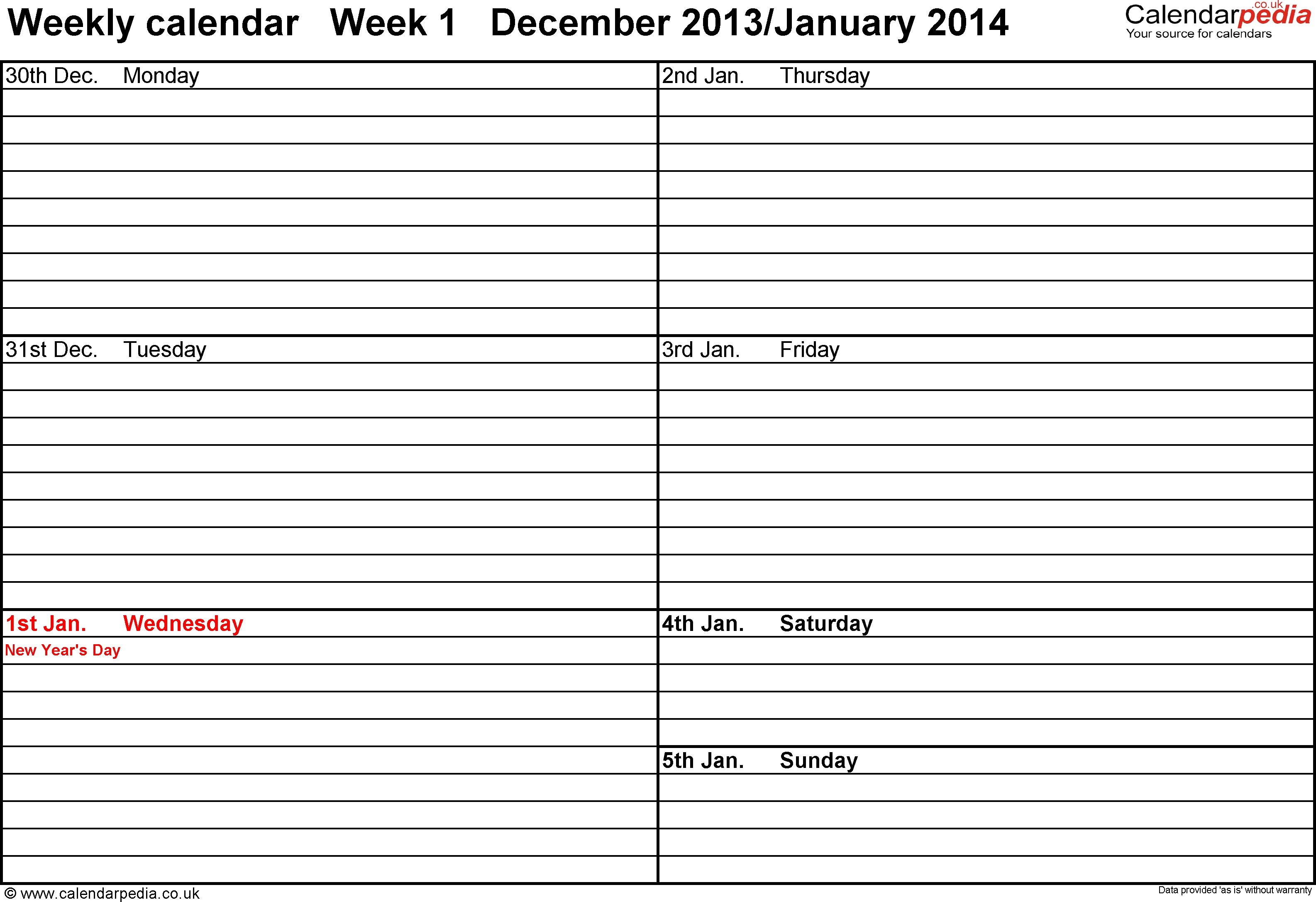 One Week Calendar Template Word - Wallofcoins.wallofcoins.tk throughout Free Day To Day Calendar