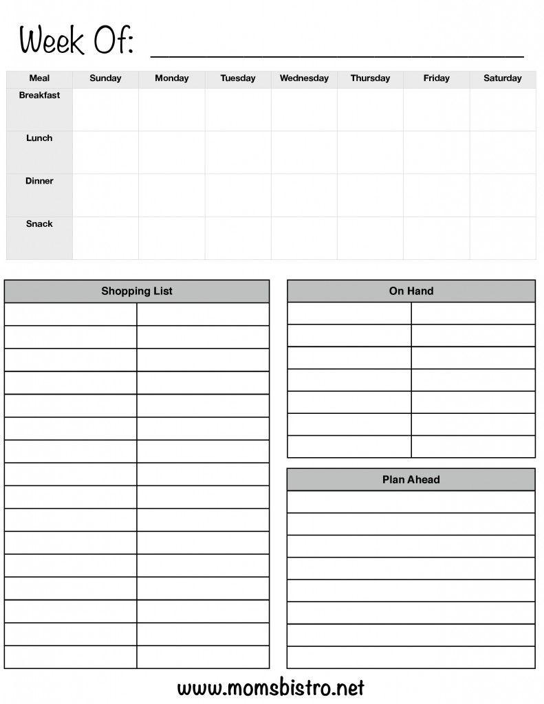 One Week Meal Planning Template With Grocery List - Plan Breakfast in 5 Week Lunch Menu Rotation Template