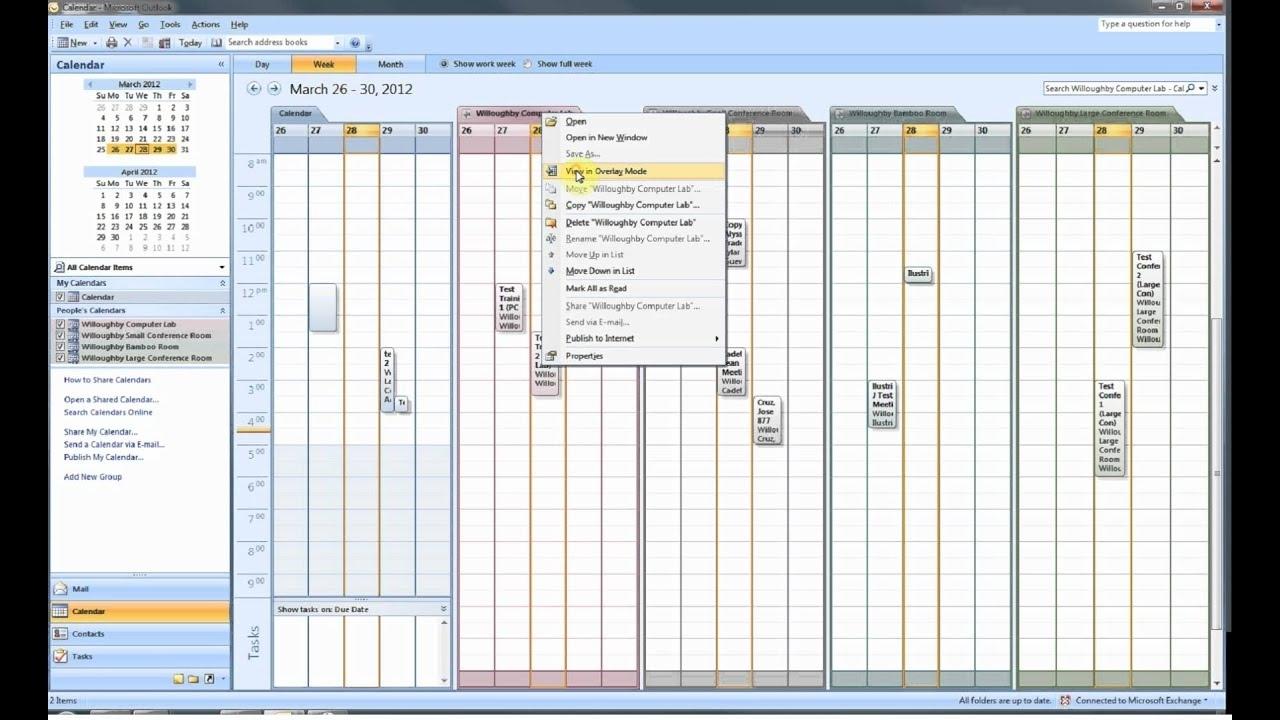 Opening A Room Calendar In Outlook 2007 - Youtube regarding Outlook 2007 Viewing Inbox In Calendar