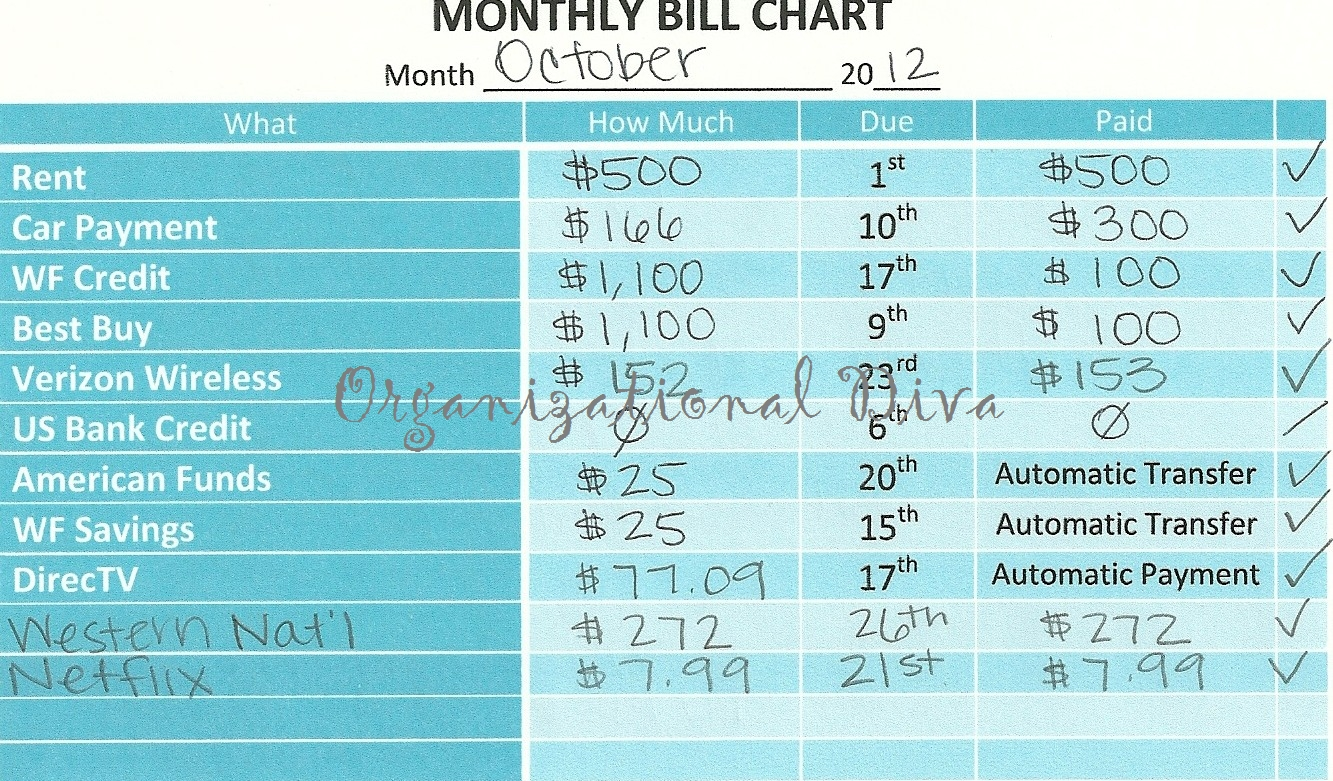 Organizational Diva: Monthly Bill Chart | Finances | Bill Calendar in Free Blank Printable Bill Paying Chart