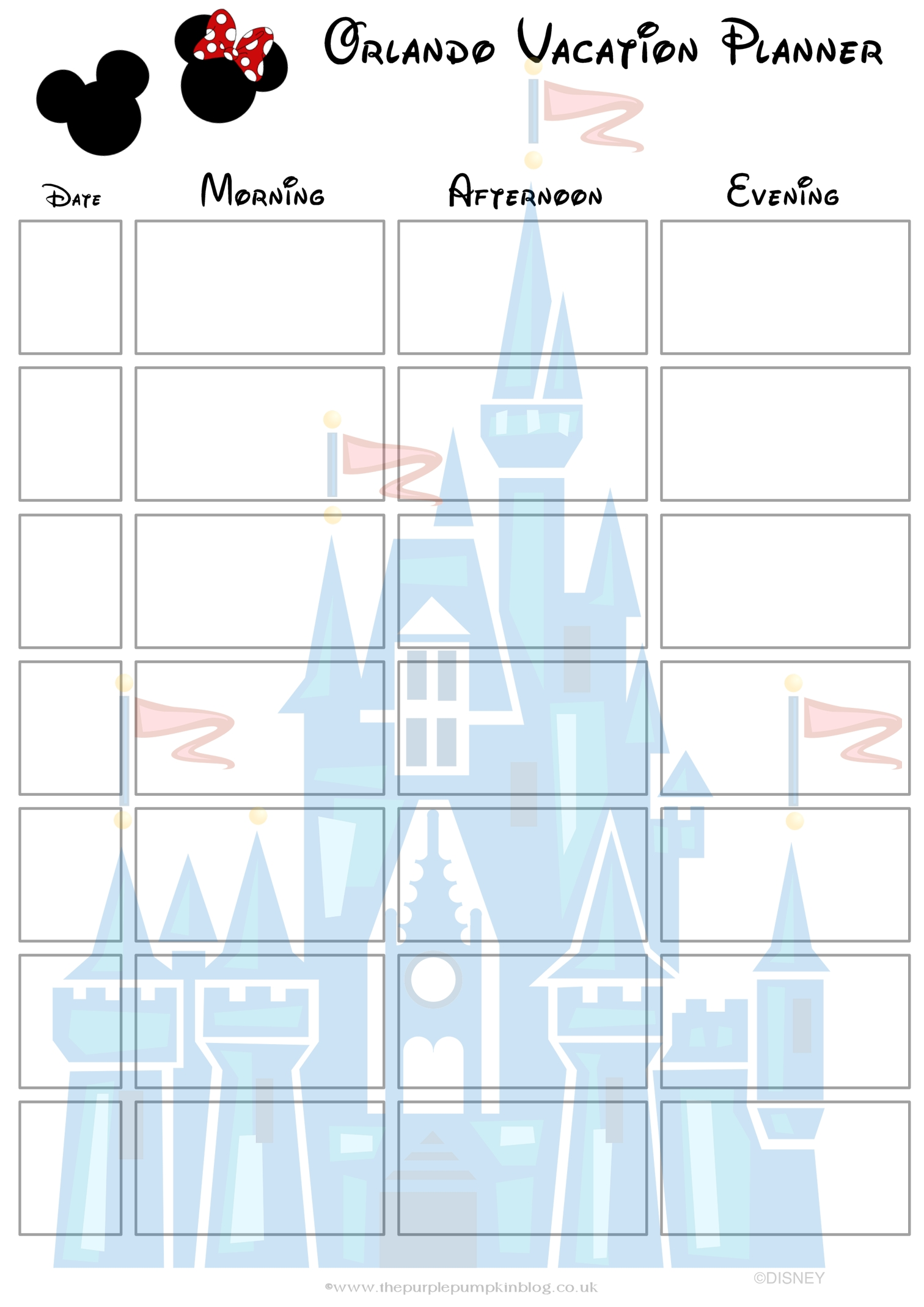 Orlando, Walt Disney World Vacation Planner | Free Printable within 1 Week Vacation Calendar Printable