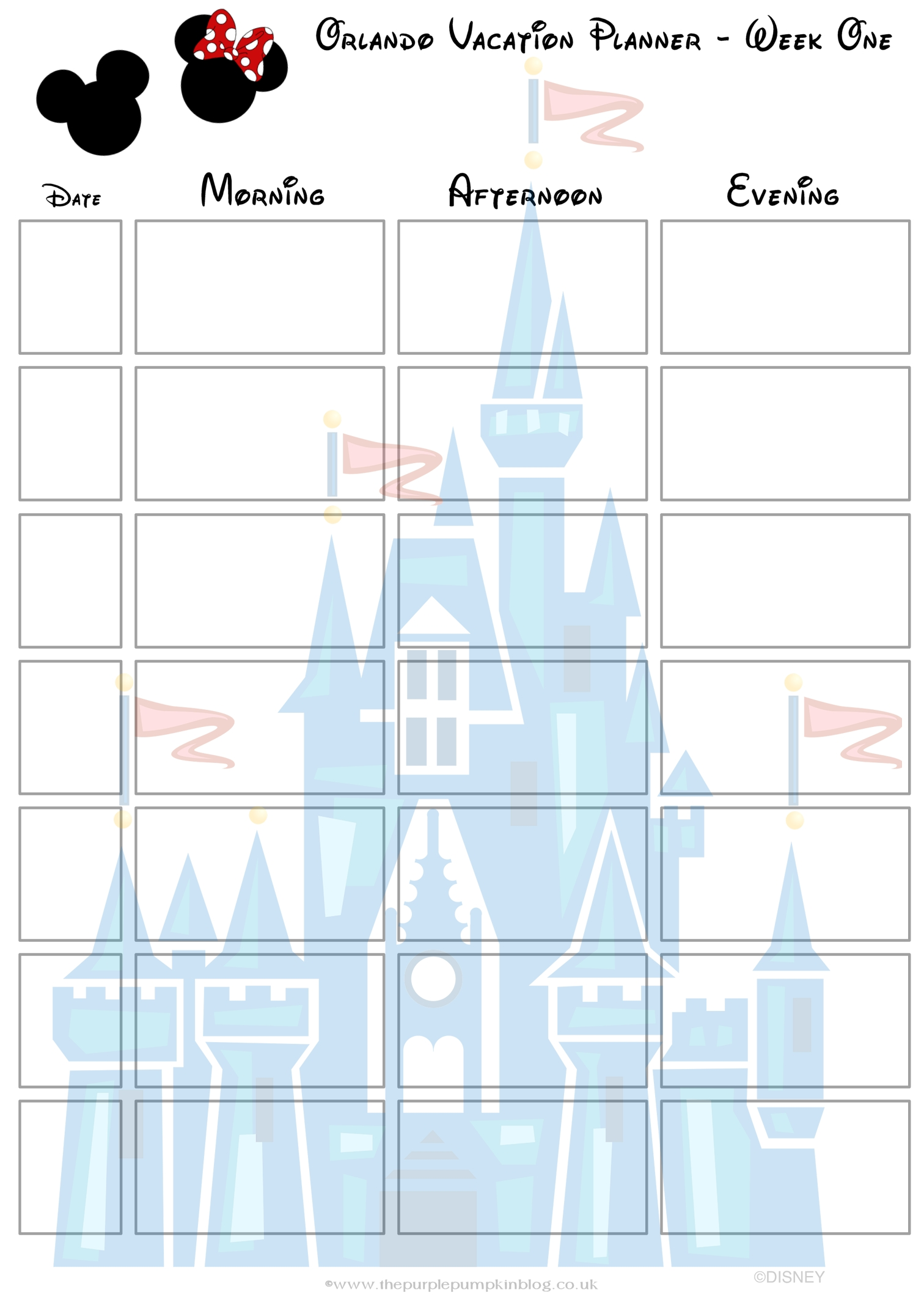 Orlando, Walt Disney World Vacation Planner | Free Printable within Disney World Printable Planning Sheets