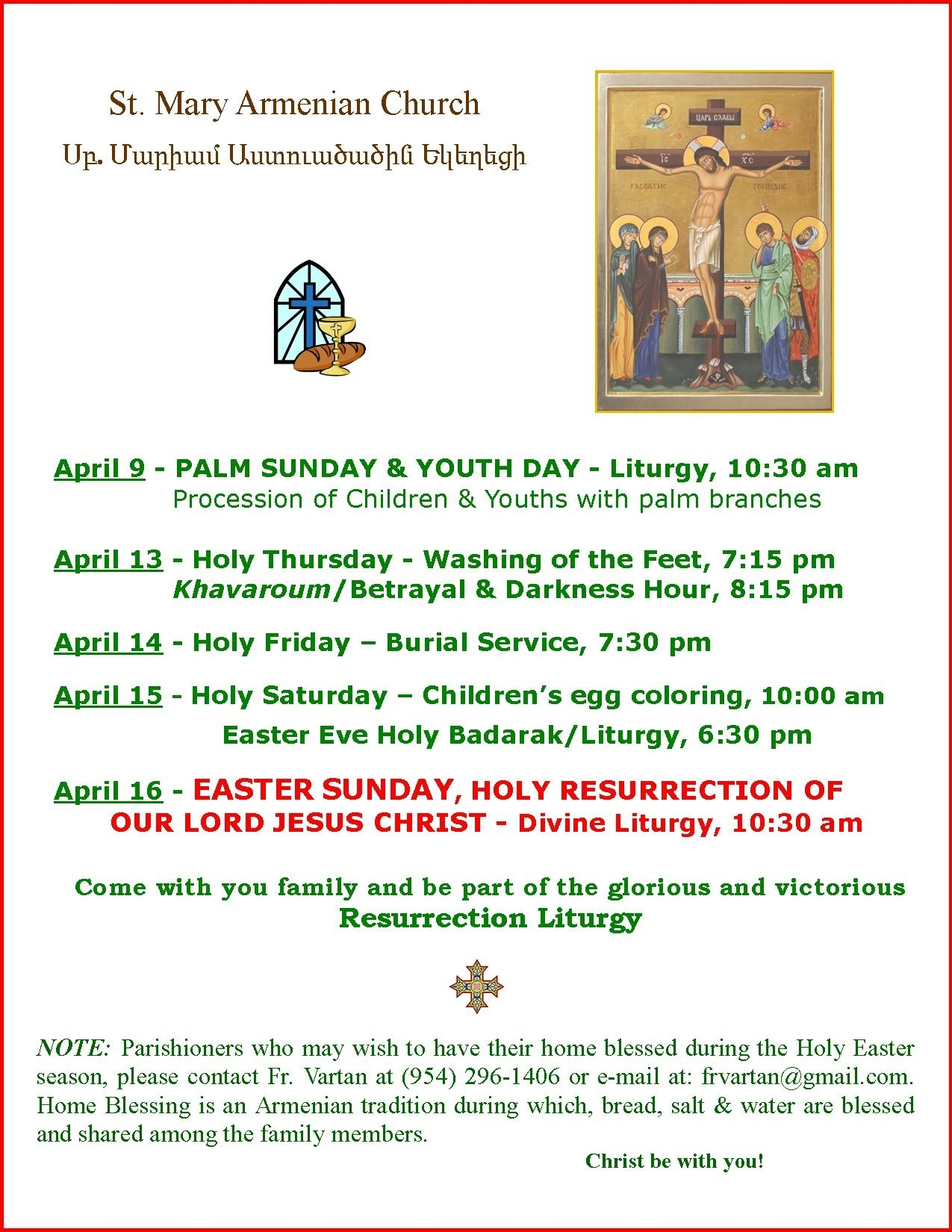 Our Parish in Calendar Of Feast Days And Holy Days Of The Armenian Church