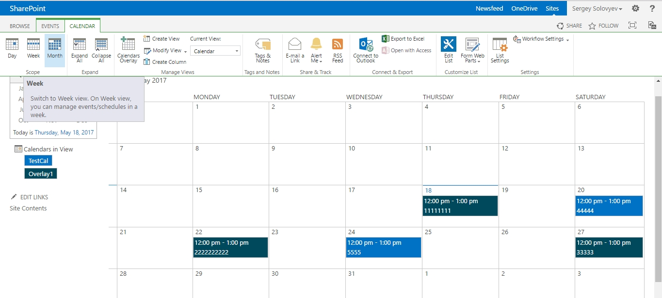 Overlay Calendar Switching Between Weekly And Monthly Views inside Sharepoint 2013 Calendar Overlay Settings