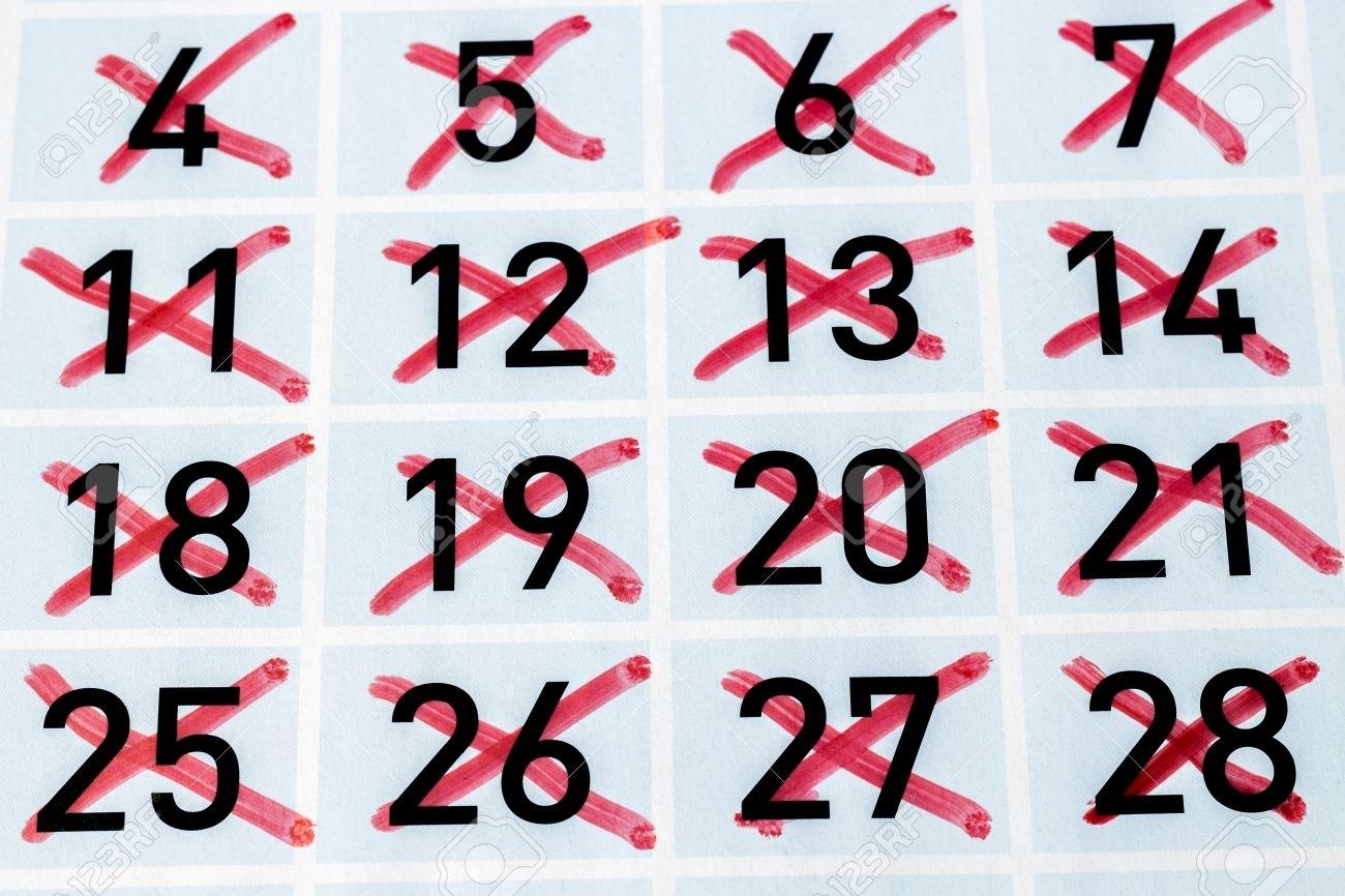 Página De Calendario Con Todos Los Días De Tachado Fotos, Retratos intended for Imagen De Tachar Dias En Almanaque