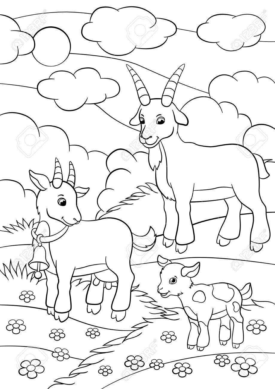 Páginas Para Colorear. Animales De Granja. Familia De La Cabra En El regarding Dibujos De Campos Sin Pintar De Preecolar