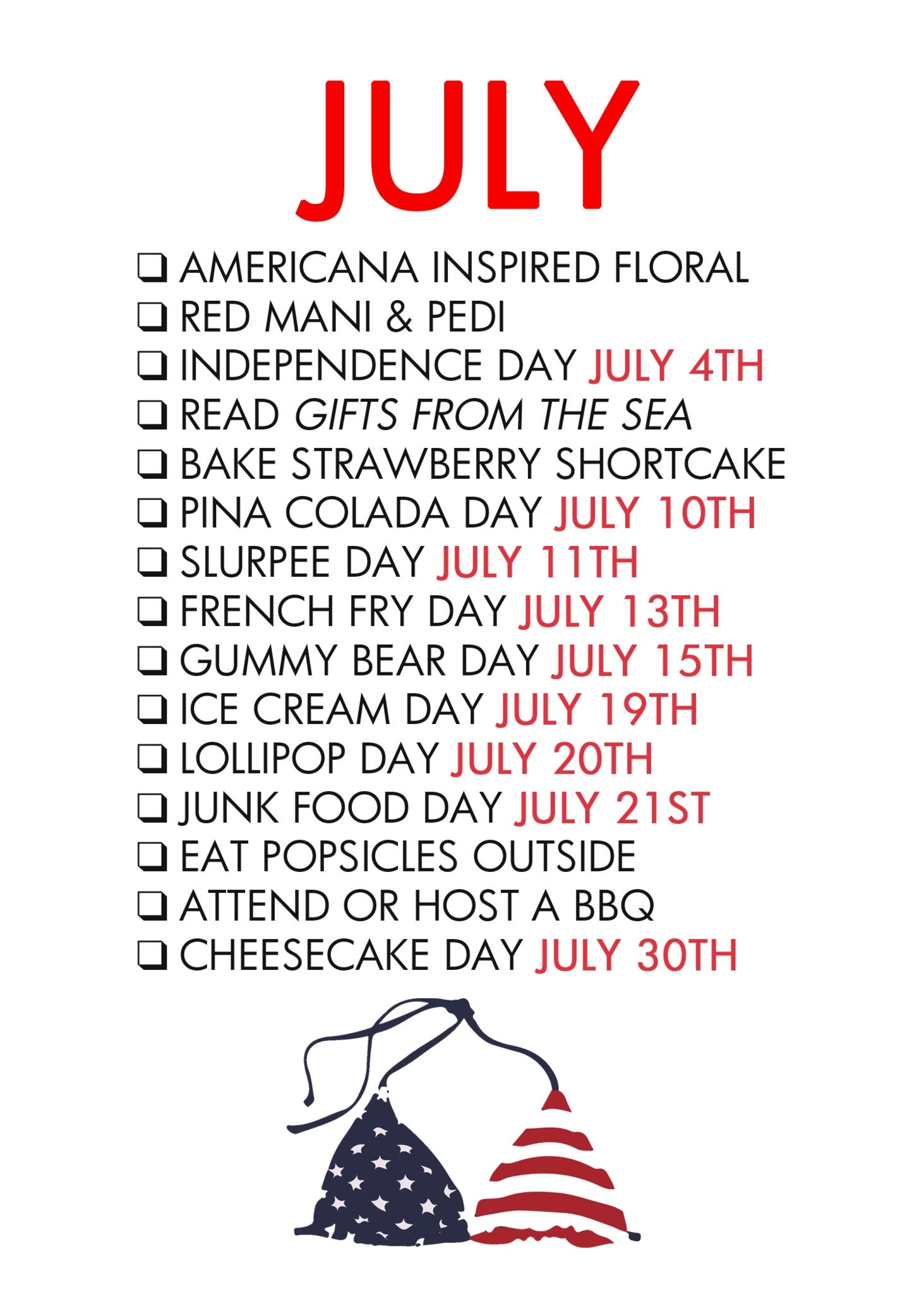Paper & Glam - July Life List | Diy Holiday Decorations | Monthly with Month Of July National Days
