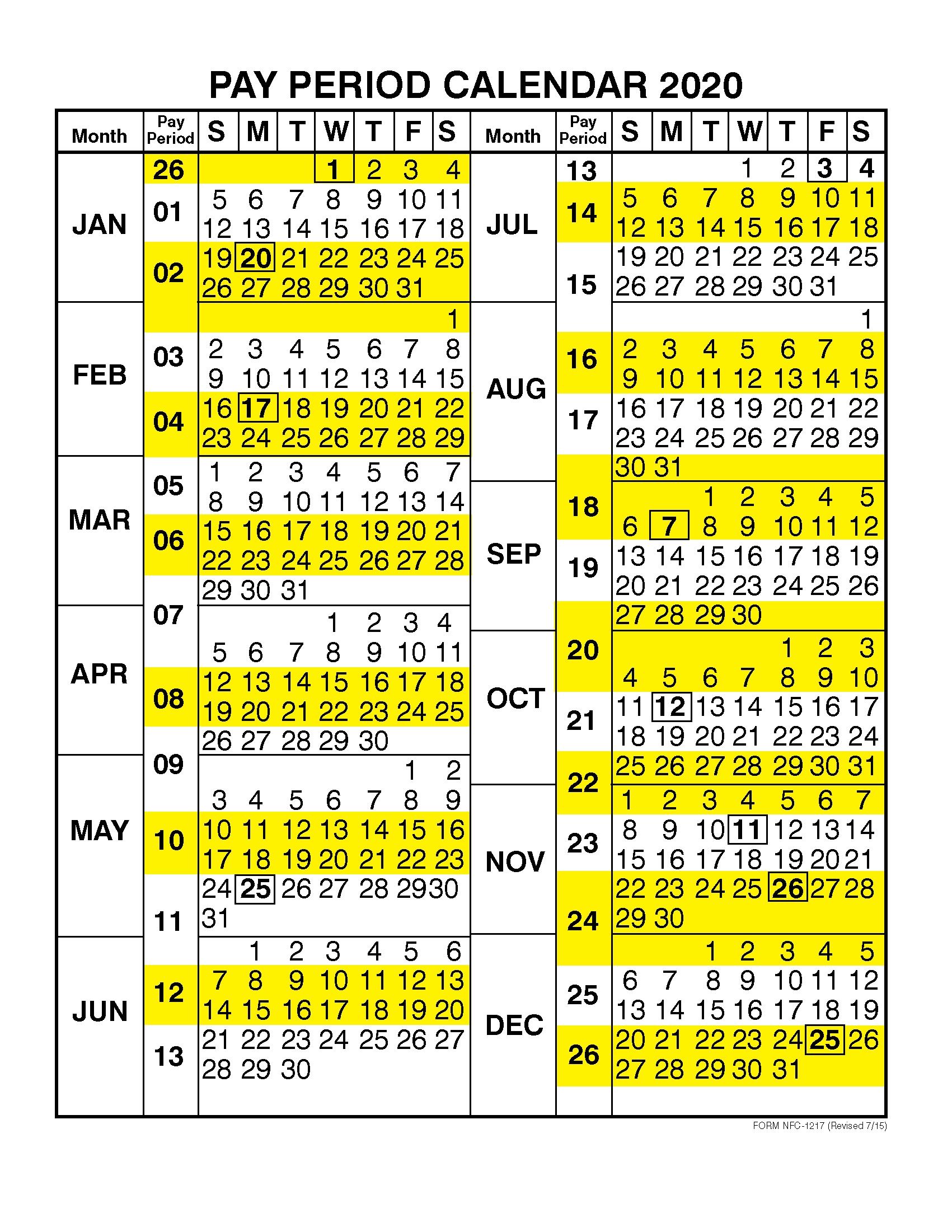 Pay Period Calendar 2020Calendar Year | Free Printable 2019 throughout Federal Pay Period Calendar 2020