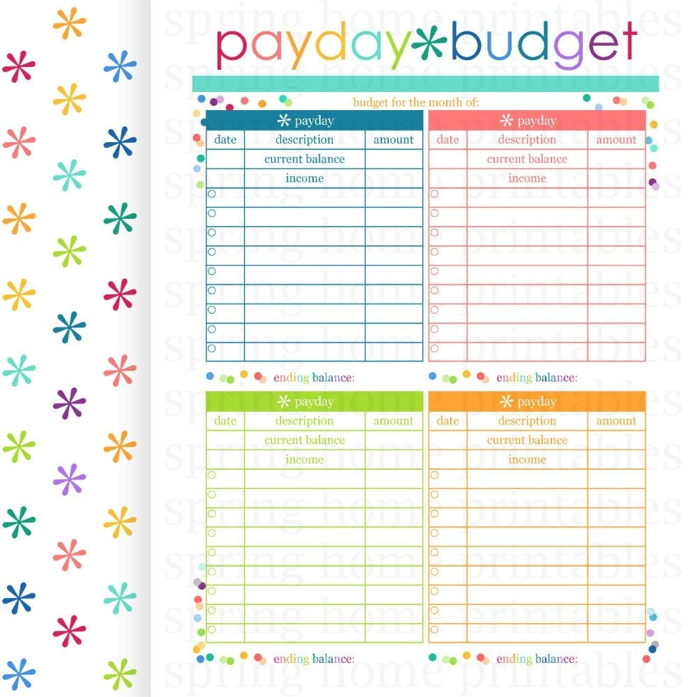 Payday Budget, Budget Planner, Printable Budget, Bill Organizer pertaining to Month At A Glance Bill Organizer