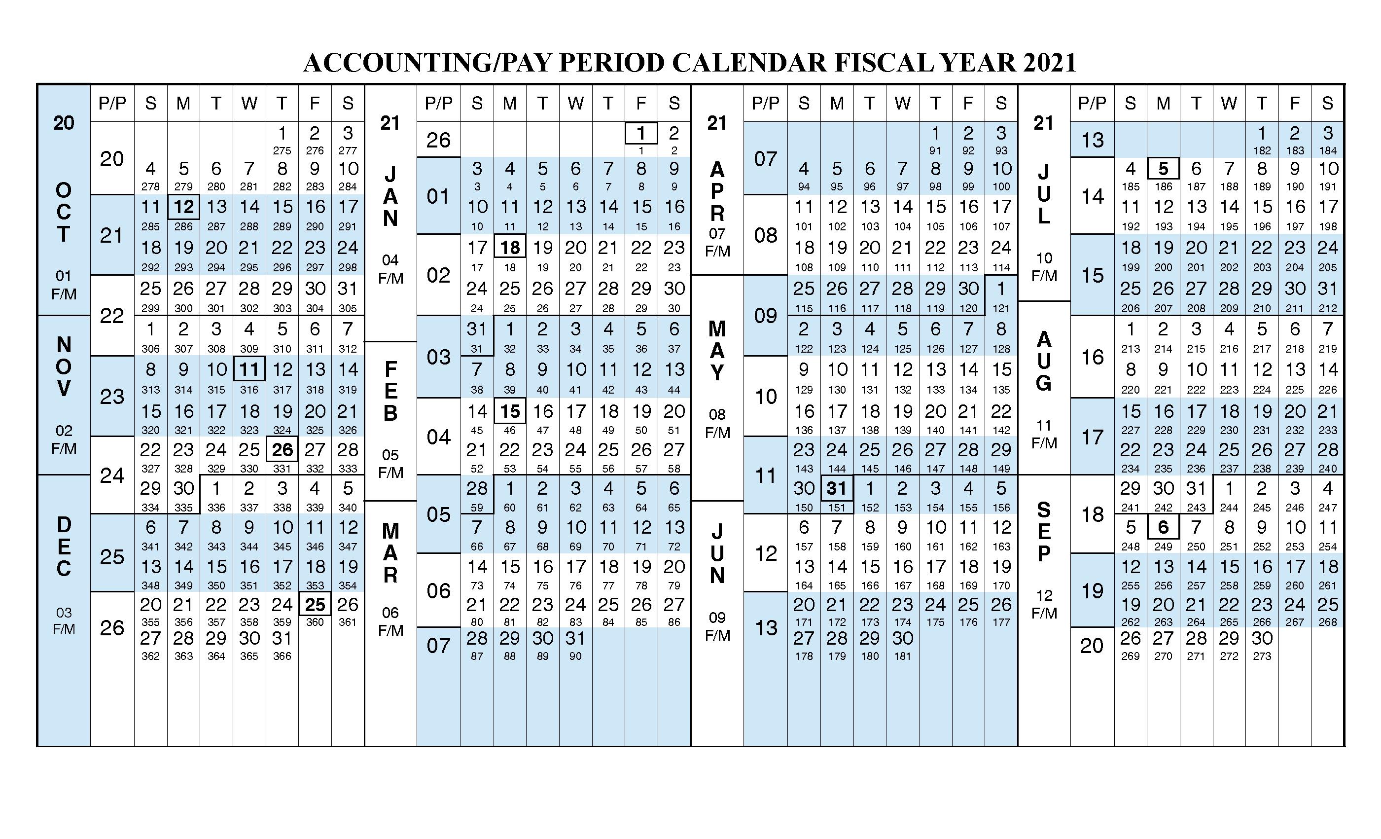 Payroll Calendar 2021 Fiscal Year Calendar [ Oct 2020 - Sep 2021 for Federal Pay Period Calendar 2020