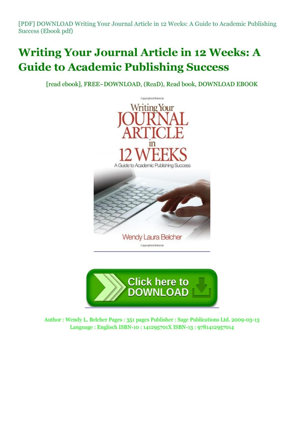 Pdf] Download Writing Your Journal Article In 12 Weeks: A Guide To within 12 Hours In 12 Weeks Pdf Download