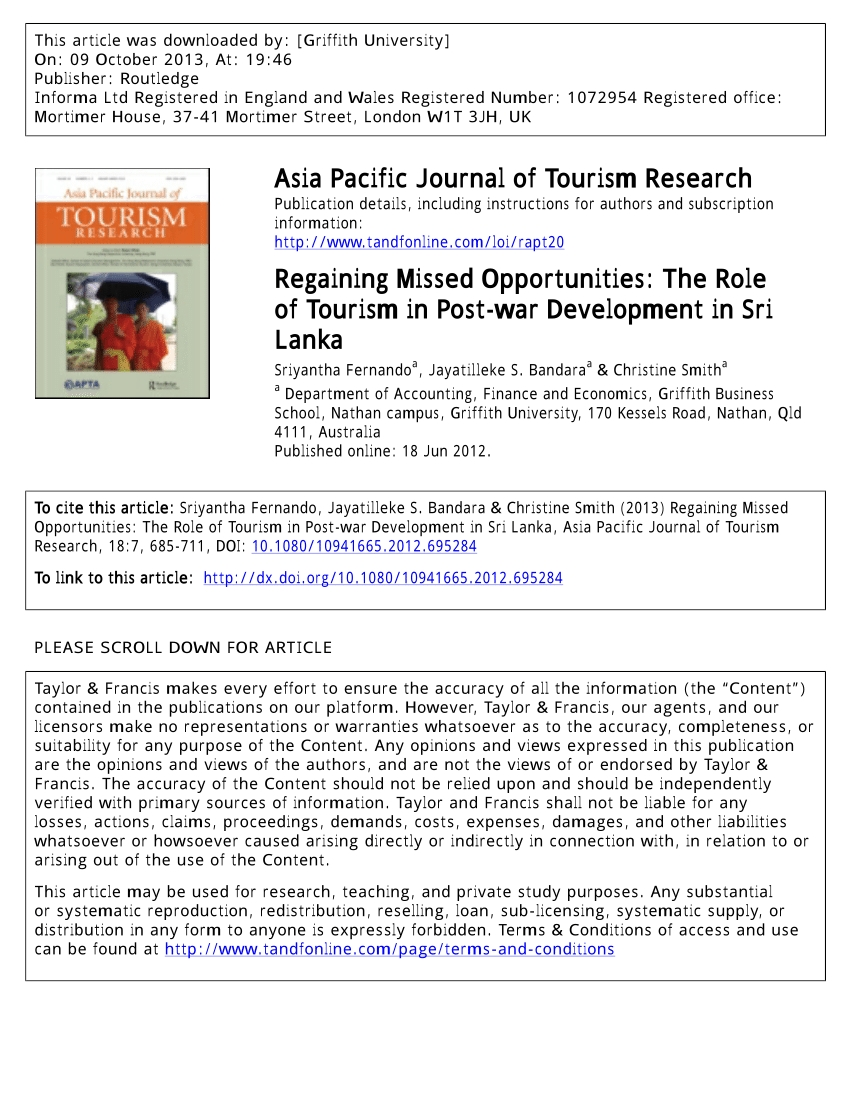 Pdf) Regaining Missed Opportunities: The Role Of Tourism In Post-War pertaining to 18 August 1987 In Sri Lanka