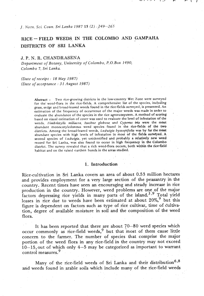 Pdf) Rice-Field Weeds In The Colombo And Gampaha Districts Of Sri Lanka inside 18 August 1987 In Sri Lanka