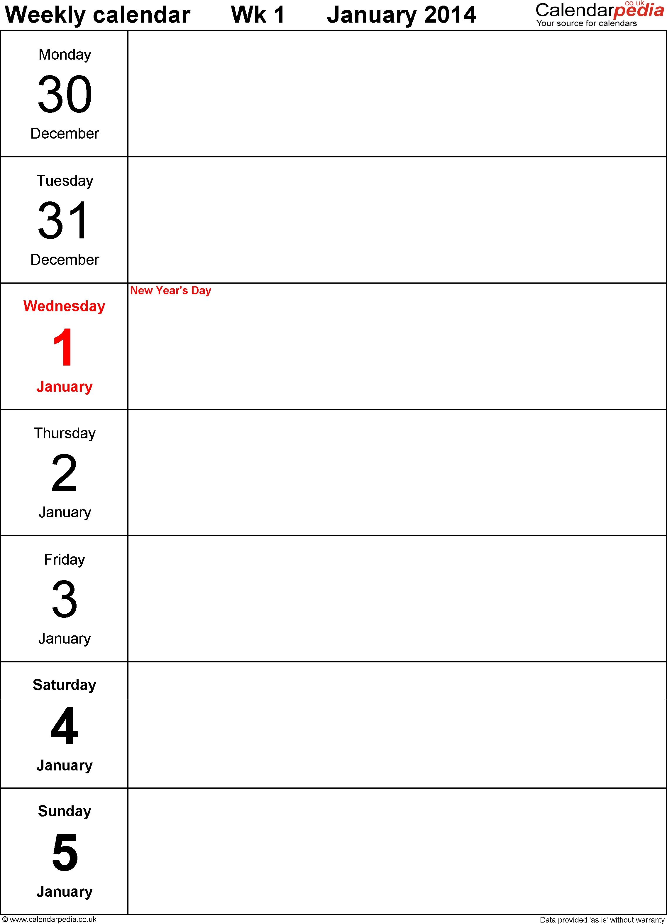 Pdf Template 4: Weekly Calendar 2014, Portrait Orientation, Days inside Days Of The Week Calendar Template