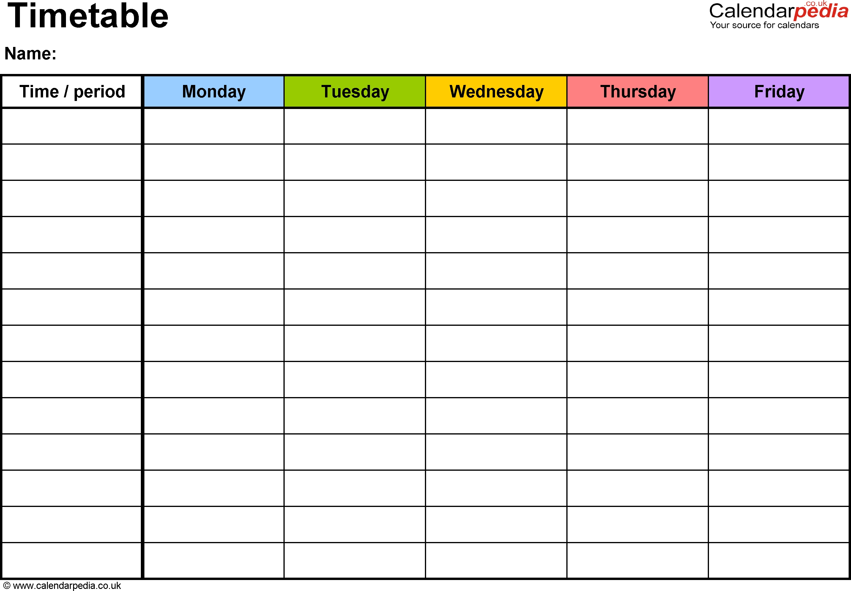 Pdf Timetable Template 2: Landscape Format, A4, 1 Page, Monday To with Free Printable 5 Day Calendar Pages