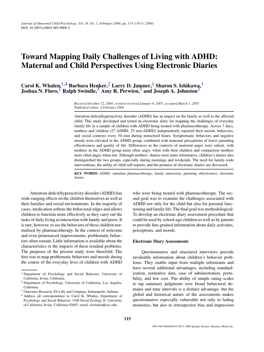 Pdf) Toward Mapping Daily Challenges Of Living With Adhd: Maternal throughout Calendar Of Appraisal For Adhd Child