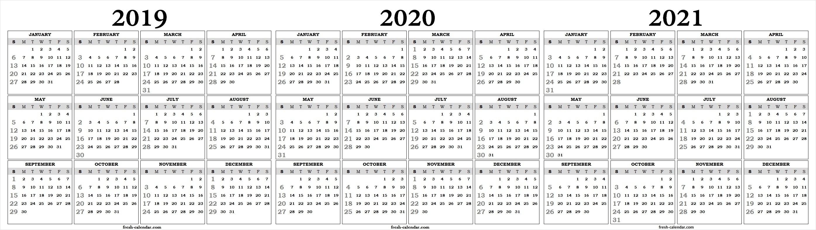Perky 2020 Yearly Calendar One Page • Printable Blank Calendar Template with regard to Three Year Calendar Printable Free