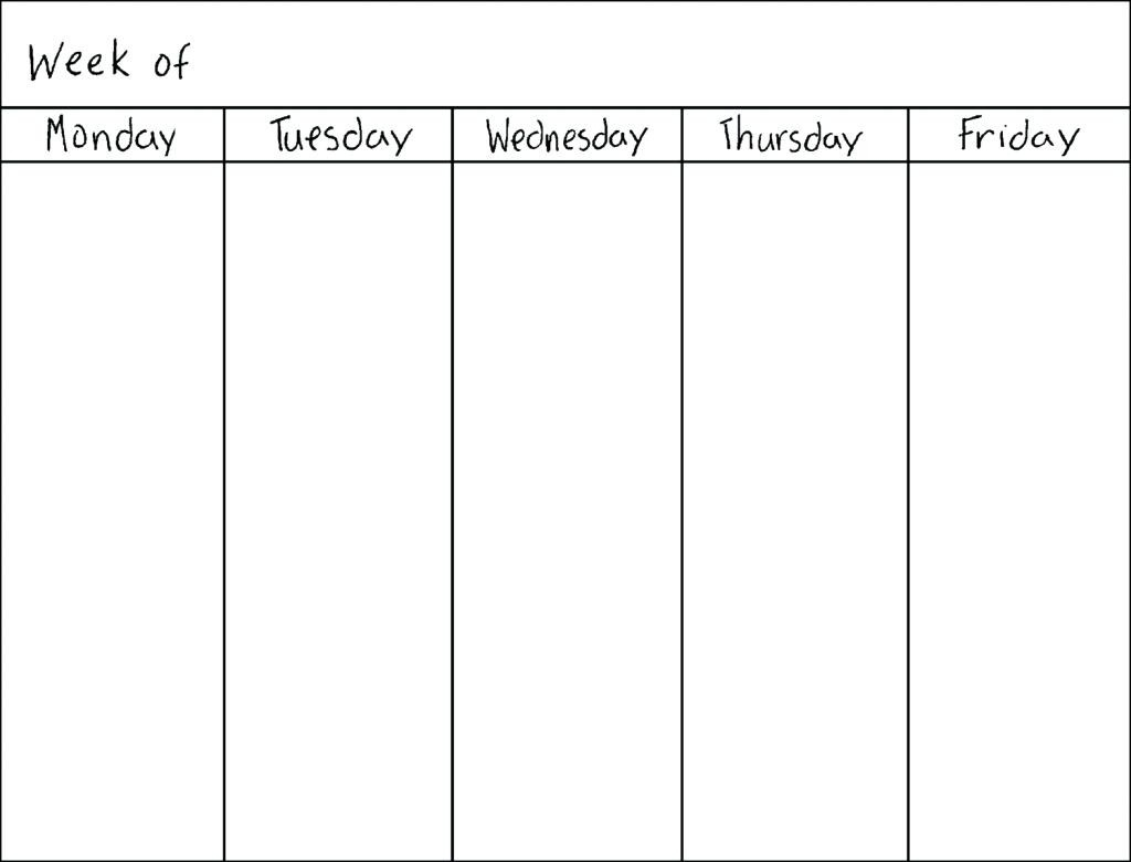 Perky Blank Calendar Monday Through Friday • Printable Blank pertaining to Monday To Friday Schedule Printable