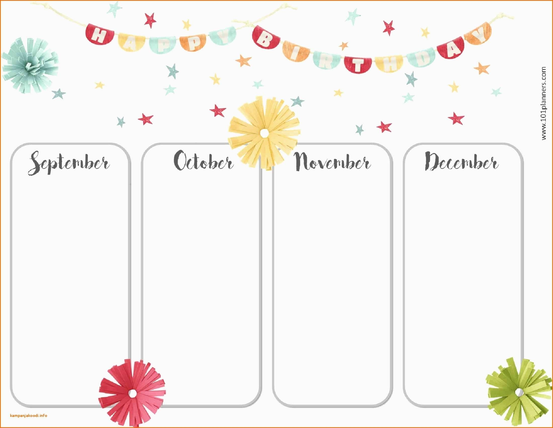 Perpetual Calendar Template Free Printable Birthday Calendar in Free Images Of Birthday Calanders