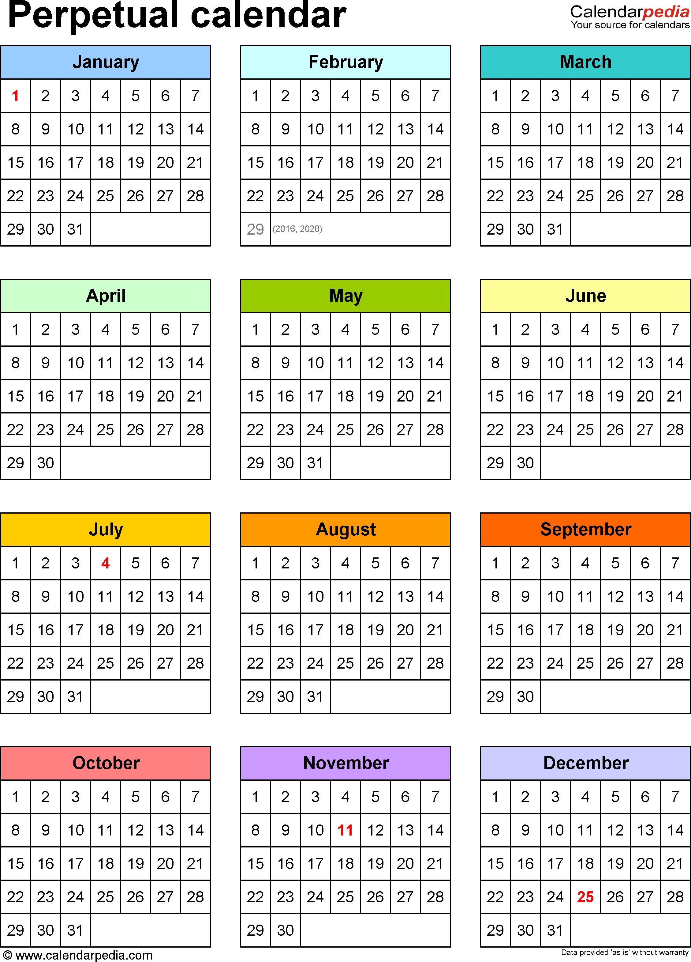 Perpetual Calendars - 7 Free Printable Excel Templates for Free Printable Perpetual Calendar Templates
