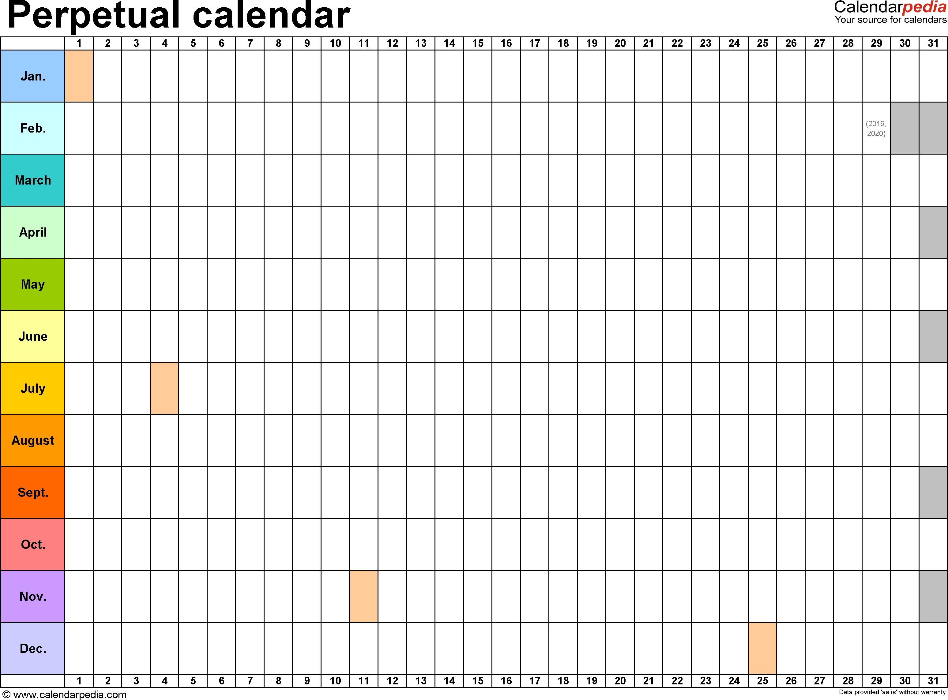 Perpetual Calendars - 7 Free Printable Excel Templates inside Calender Without Numbers And Month