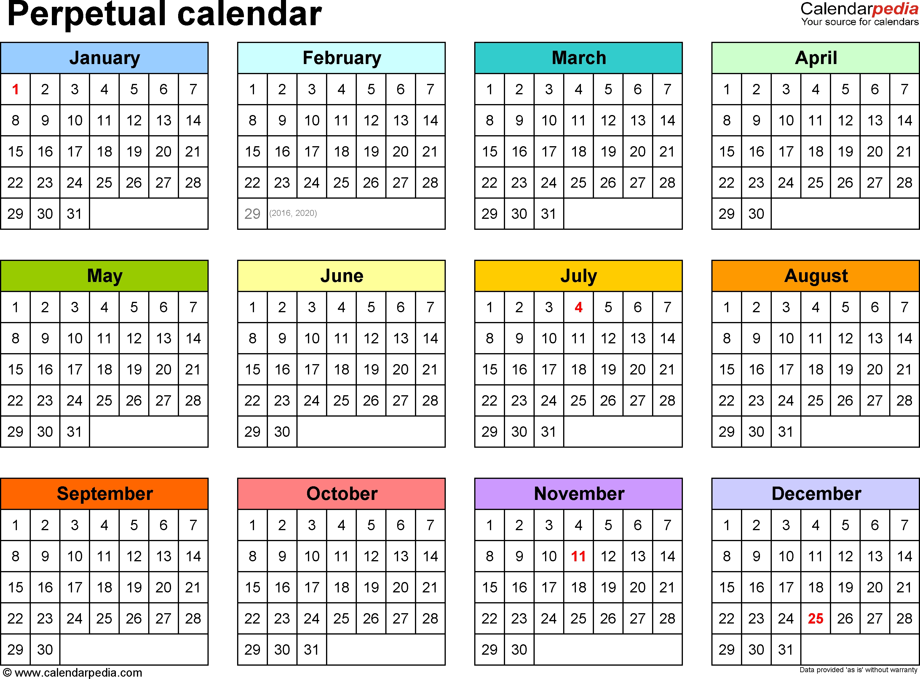 Perpetual Calendars - 7 Free Printable Word Templates inside Year At A Glance Calendar Template