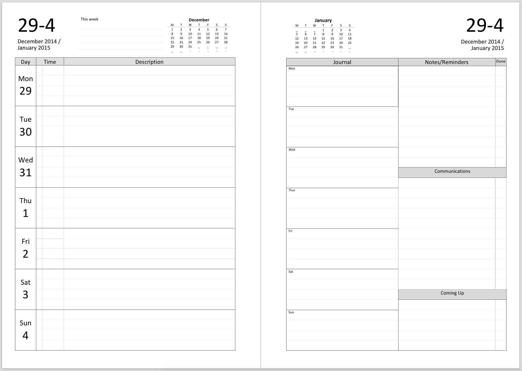 Philofaxy: Inserts For 2018 with 4 Week Calendar To Print