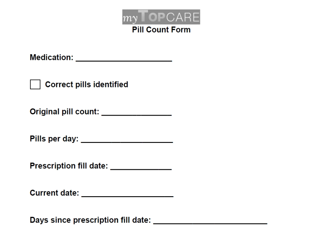 Pill Counts - Mytopcare - Mytopcare with regard to Printable 30 Day Medication Sheet
