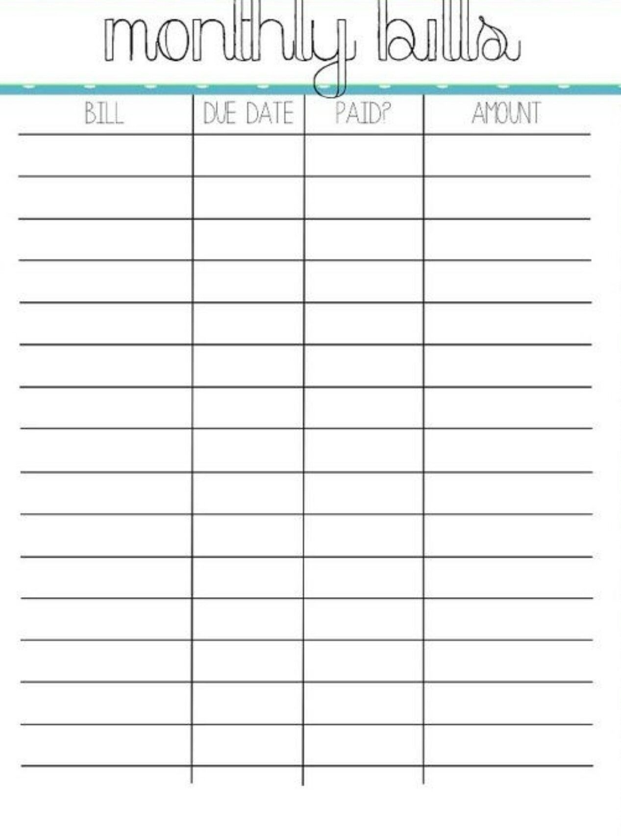 Pincrystal On Bills | Organizing Monthly Bills, Bill for Pay My Bill Organizer Sheet