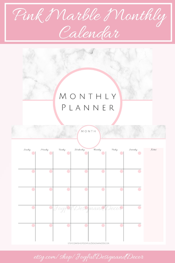 Pink Marble Monthly Calendar, Blank Monthly Planner, Monthly regarding Marble Themed Blank Class Schedule Template