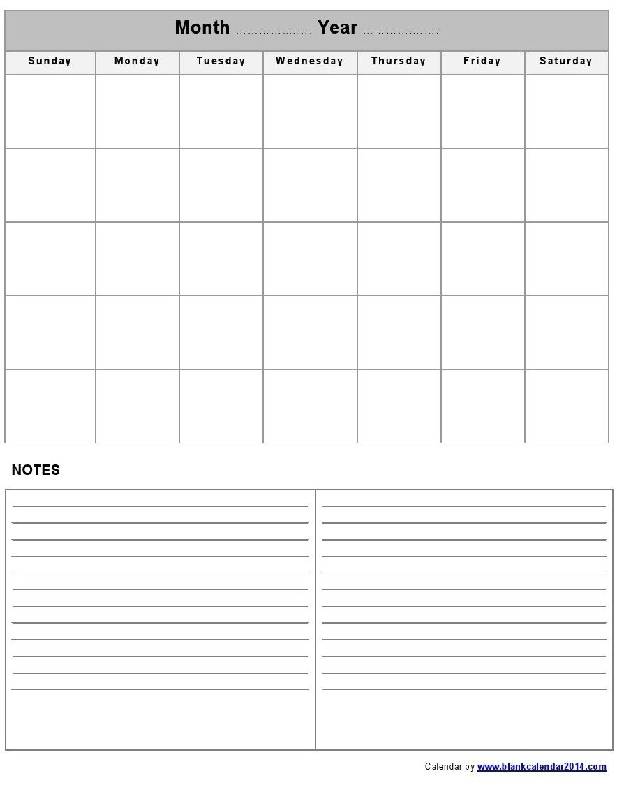 Pinsavannah Sartain On Printable | Blank Calendar Template in Blank Calendar Template With Notes