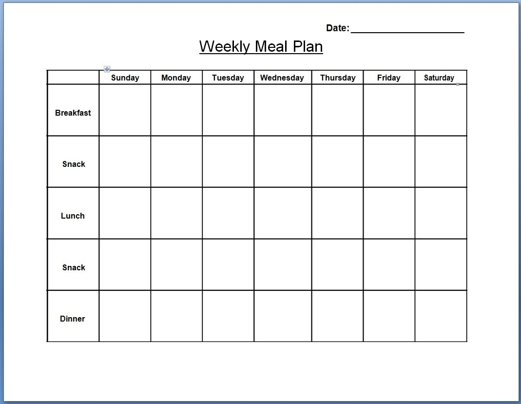 Plan Template Weekly Meal Planning Templates E2 80 93 Lab Within throughout Monthly Printable Blank Menus To Print