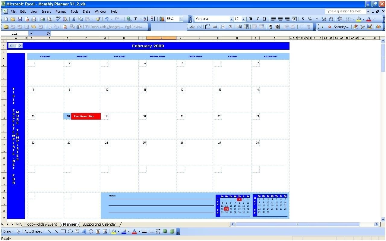 Planning Monthly Calendar Excel Spreadsheet   Template Calendar for Planning Monthly Calendar Excel Spreadsheet