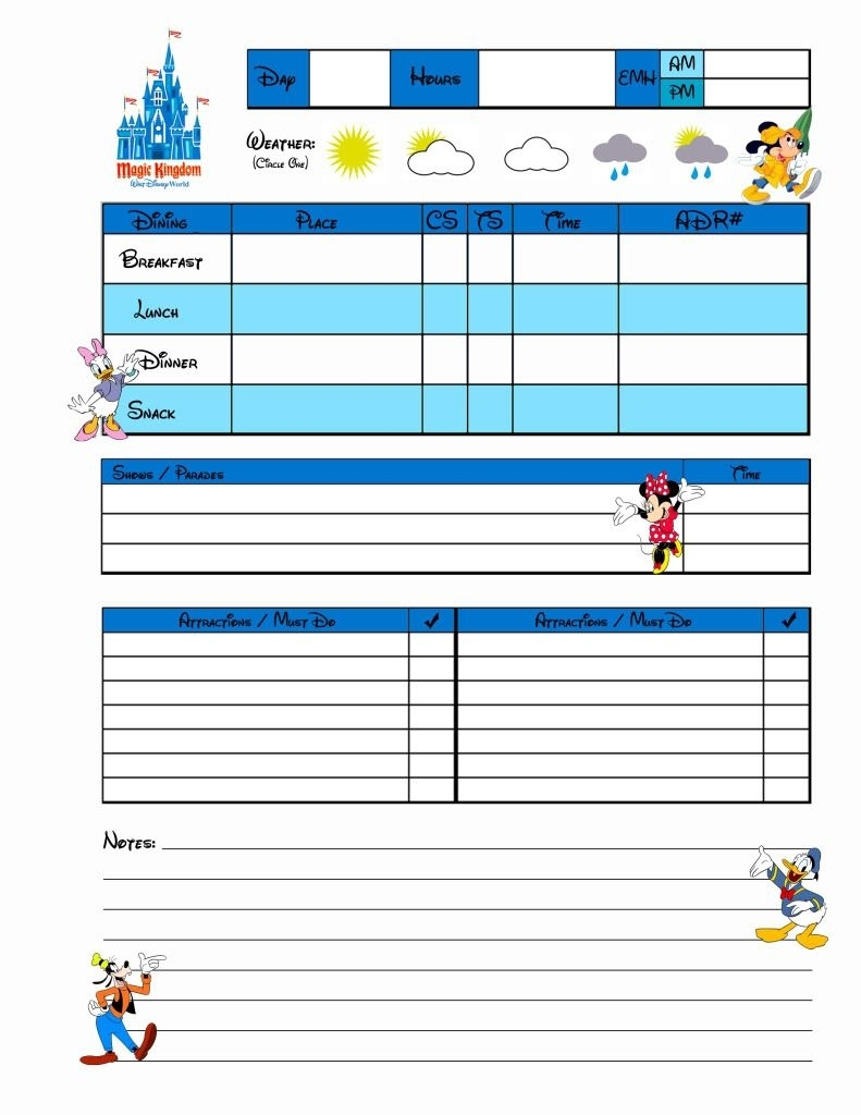 Planning Sheets For Disney World!! | Disney/disney Scrapbooking for Disney World Itinerary Template Blank