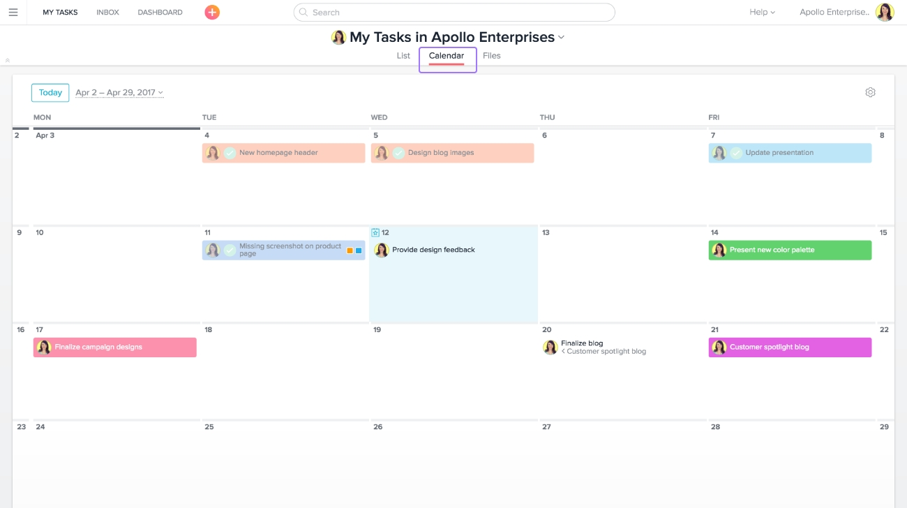 Planning With Asana Calendar | Product Guide · Asana with regard to Calenders And To Keep Up Withstuff