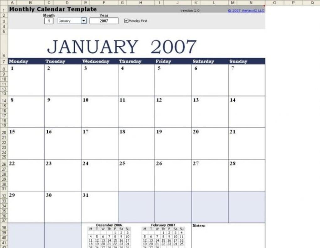 Plantilla De Calendario Mensual - Excel Para Mac - Descargar regarding Calendario 2006 Para Imprimir Espaa